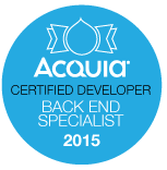 Acquia Certified Developer - Back End Specialist badge