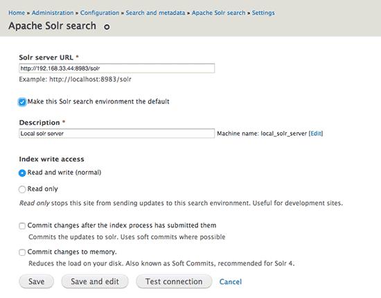 Drupal Apache Solr module search environment configuration form