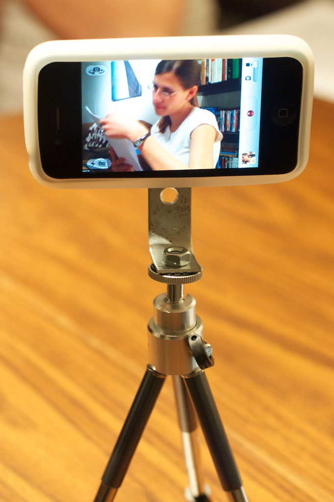 iPhone 4 in DIY Tripod Case/Adapter