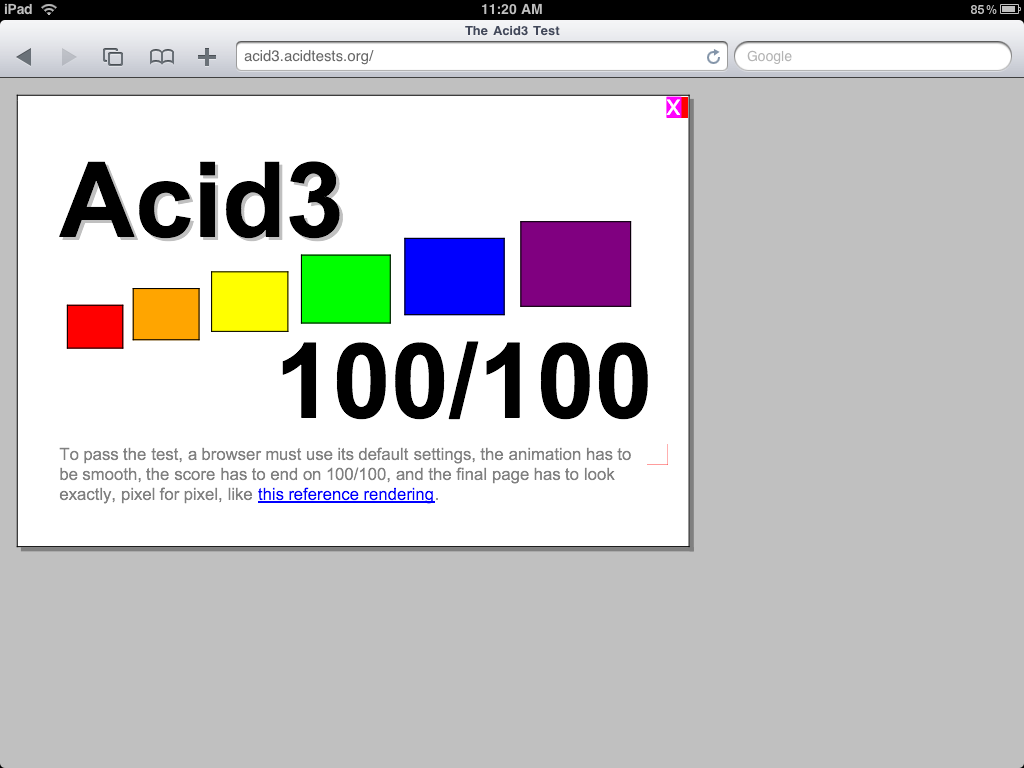 Acid3 Results - iPad