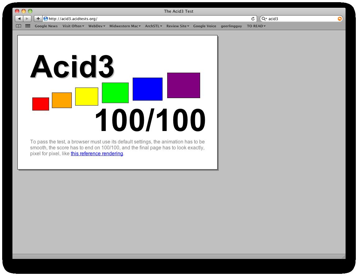 Acid3 Results - Macbook Pro