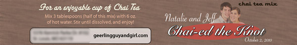 Chai-ed the Knot - Chai Tea Latté Baby Bottle Labels