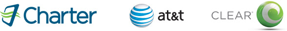 Charter, AT&T and Clear - Logos