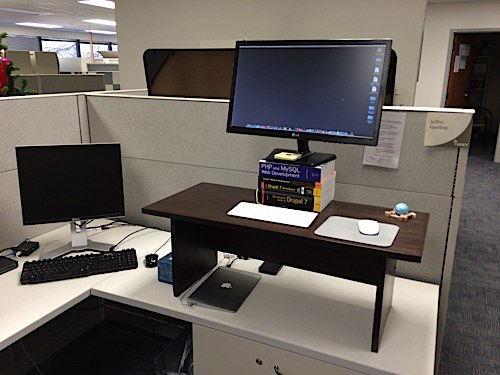 Standing Desk in cubicle at work