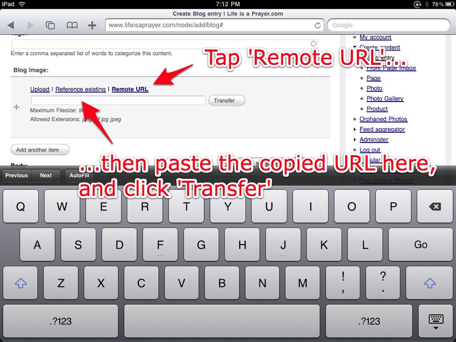 Tap Remote URL then transfer the file to your site.