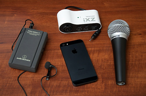 iPhone 5 with Microphones and Input Adapters