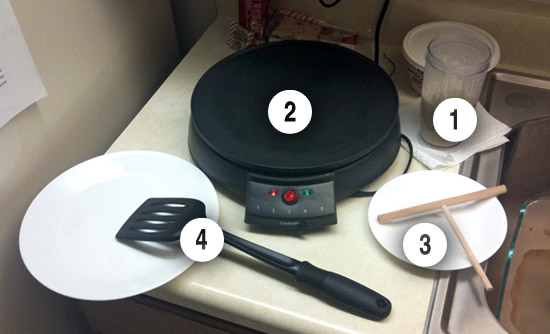 How to make a Crepe - Crepe skillet, crepe spreader, crepe batter, etc.