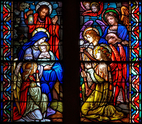 Stained Glass - Nativity Window, Holy Family, Saint Cecilia Church
