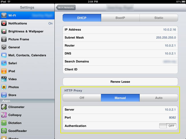 iPad Proxy Settings - Authentication through NTLMap
