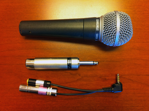 Shure SM58 with adapters for iPhone 4