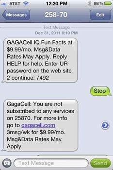GagaCell IQ Spam Text Message