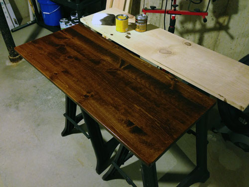 Staining wood for standing desk