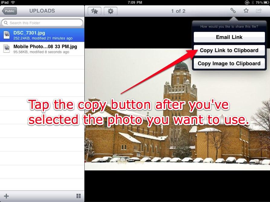 Copy Link to Clipboard in Dropbox.
