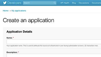 Twitter - Create Application