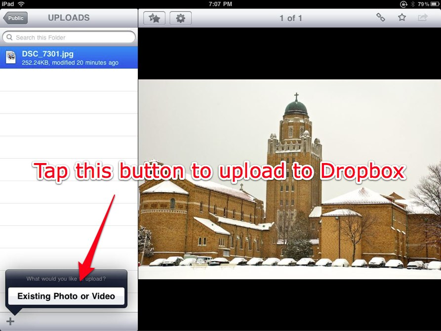 Tap the Choose Existing Photo or Video button.