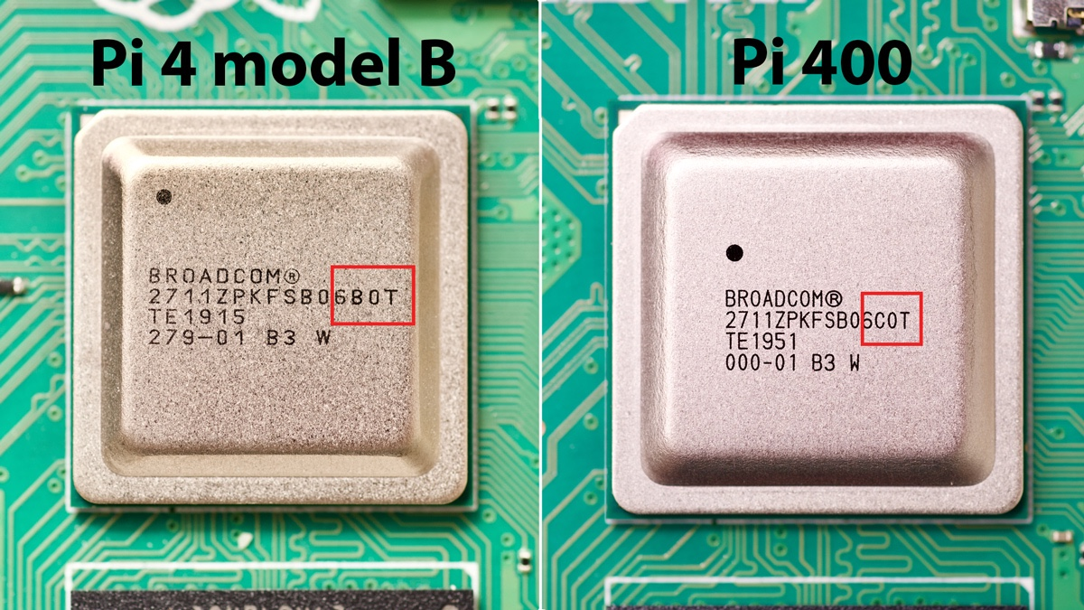 Pi 4 model B and Pi 400 BCM2711 SoC Broadcom chip number difference