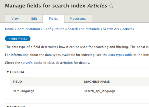 Search API Article index add fields to index Drupal 8