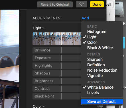 Save as Default adjustment set in Photos in macOS Sierra