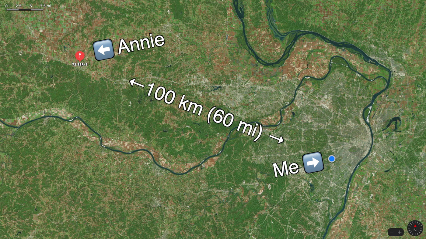 Annie is 100 kilometers or 60 miles away from me as the crow flies