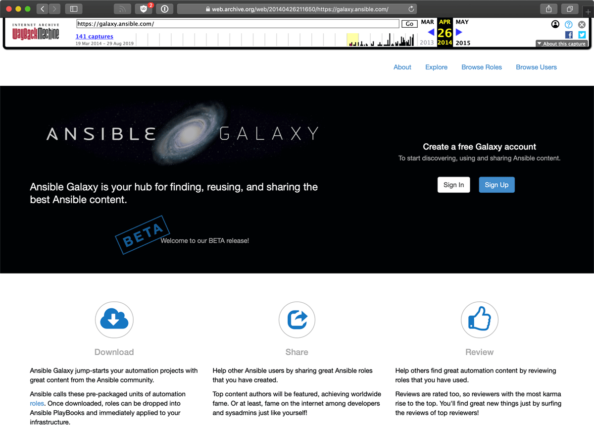 Ansible Galaxy in 2014, courtesy of the Wayback Machine
