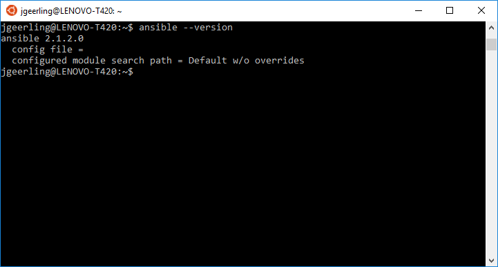 Ansible running on Windows in the Ubuntu Bash shell