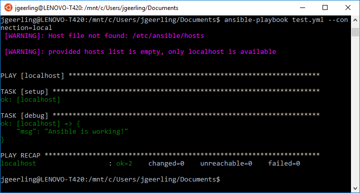 Ansible test playbook running on Windows in the Ubuntu Bash shell