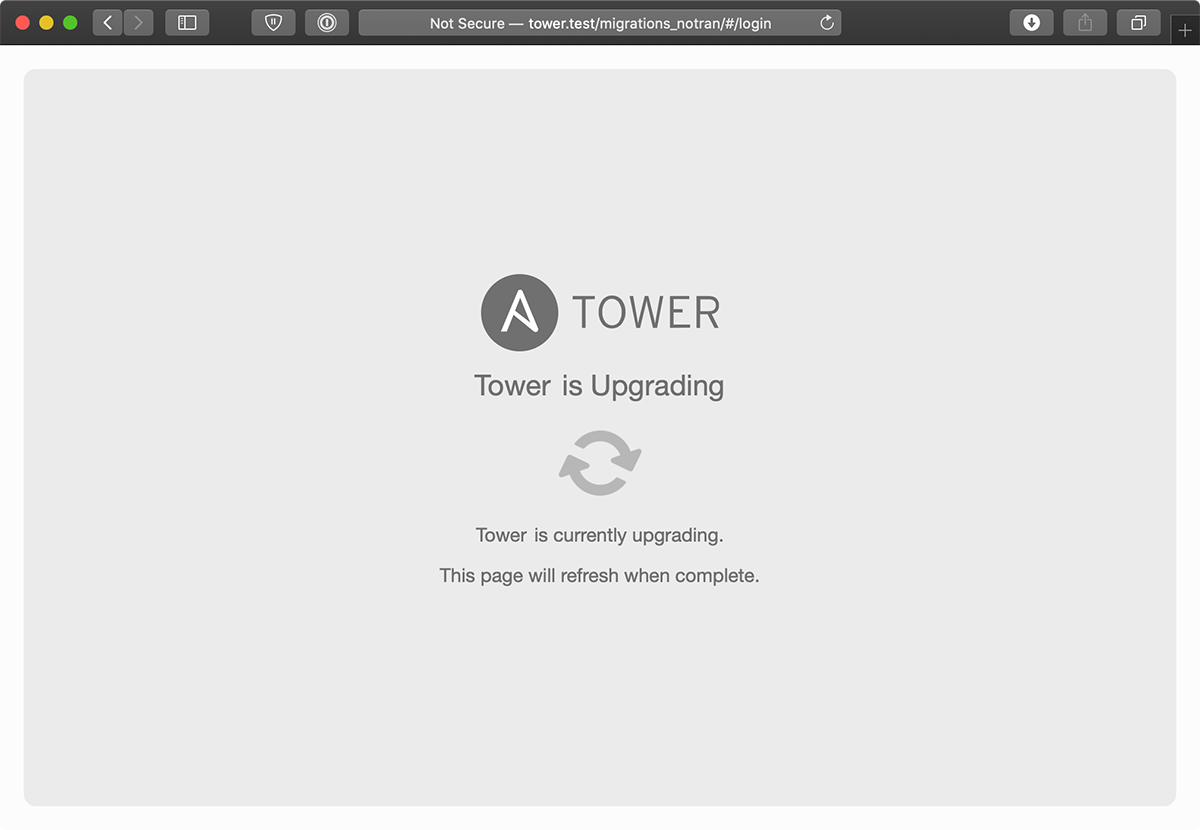 Ansible Tower is Upgrading screenshot