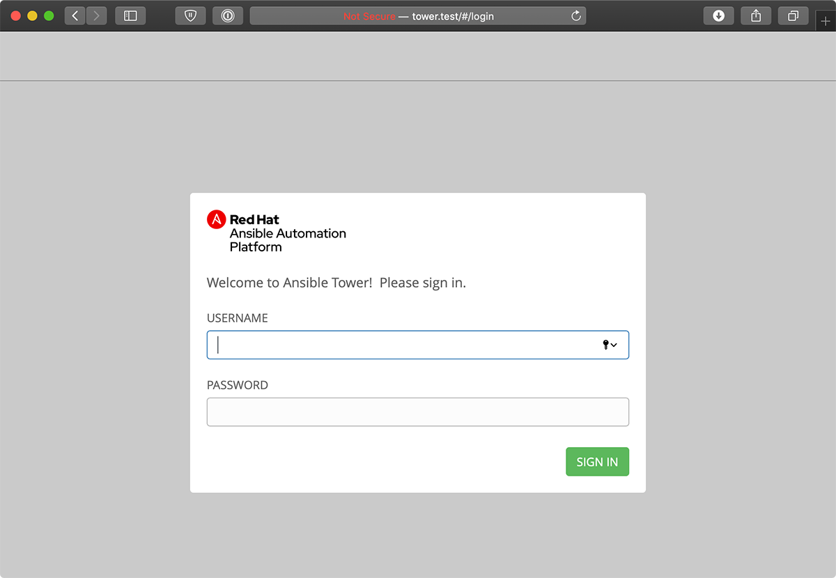 Ansible Tower login screen