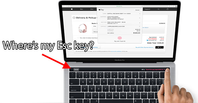 Macbook Pro Escape Key missing OLED contextual keys