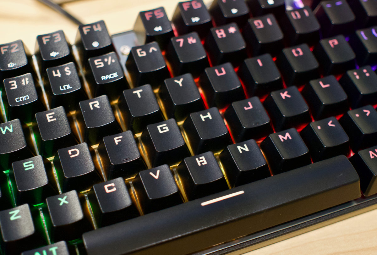 AUKEY closeup of RGB blue keycap mechanical gaming keyboard