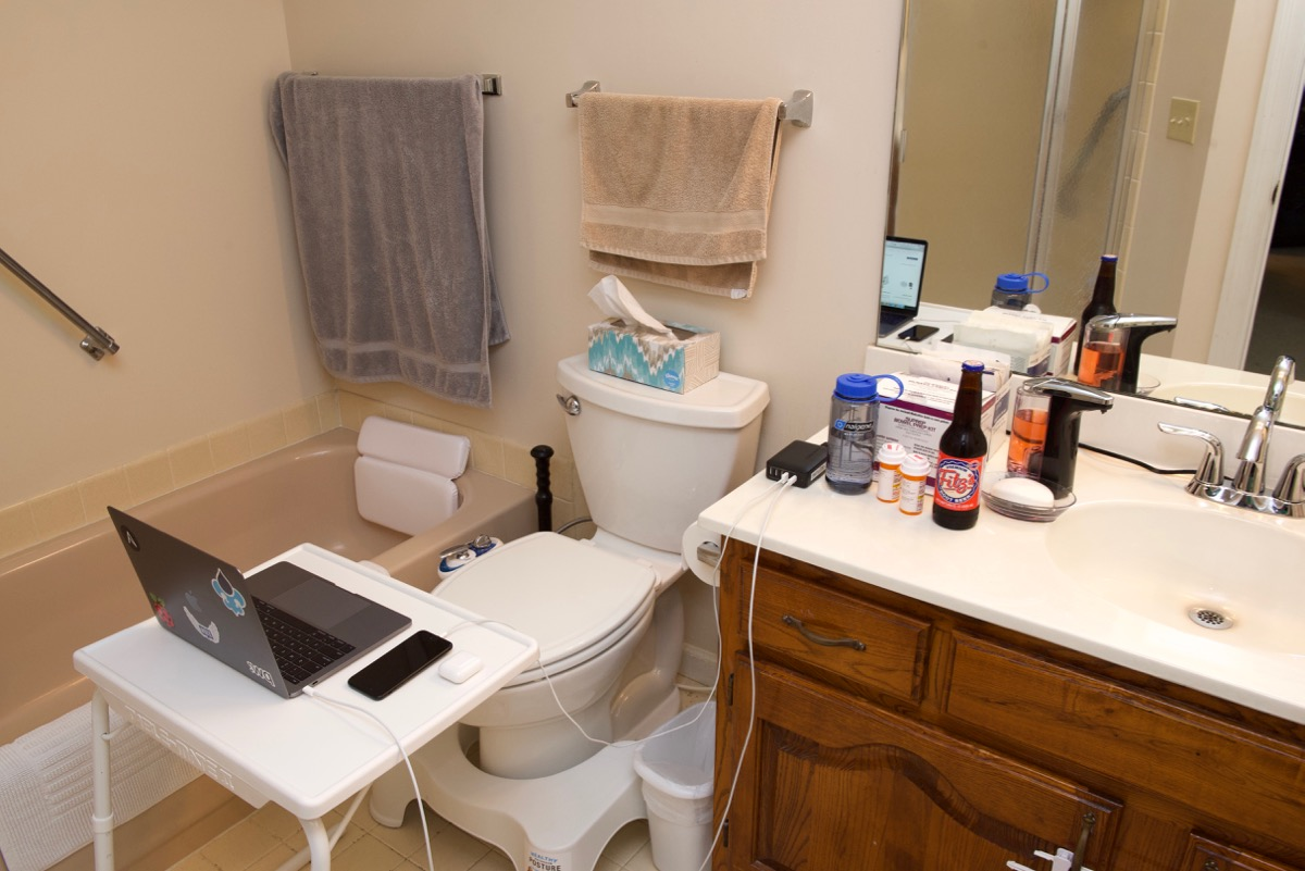 Jeff Geerling's bathroom setup for a colonoscopy prep session