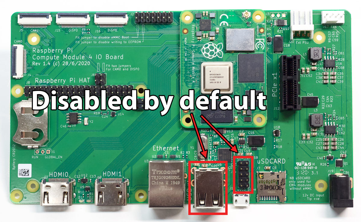 Compute Module 4 IO Board USB 2.0 ports are disabled by default