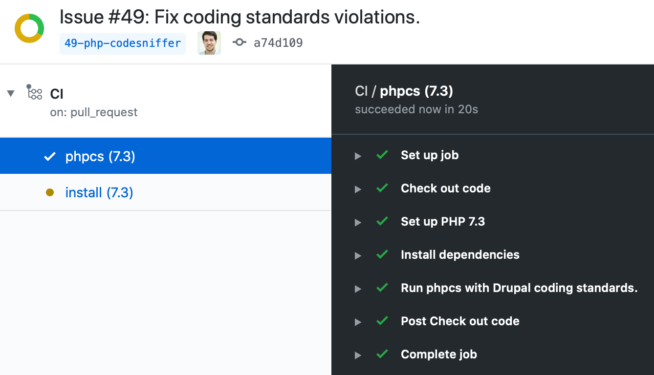 GitHub Actions - PHPCS coding standards Coder review for Drupal