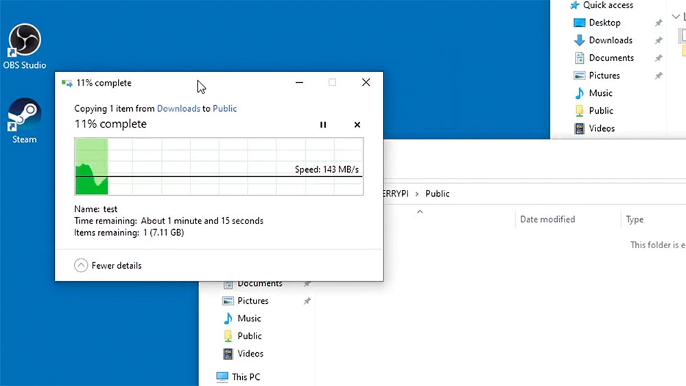 File copy in Windows 10 from PC to Raspberry Pi NAS