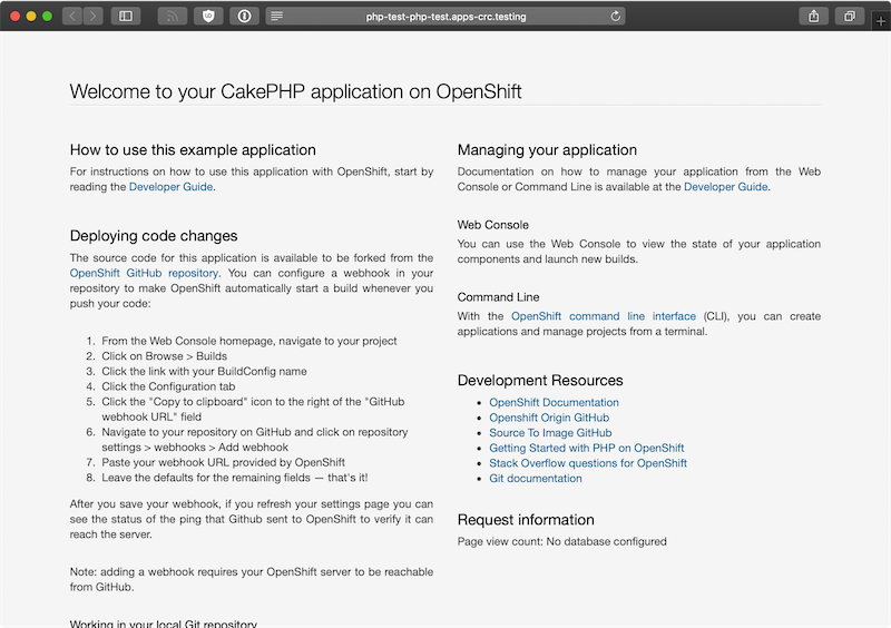 CRC OpenShift demo CakePHP application