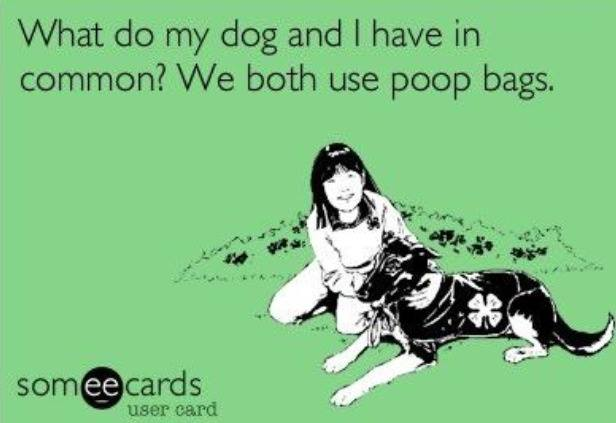 What do my dog and I have in common? We both use poop bags - Ostomy joke