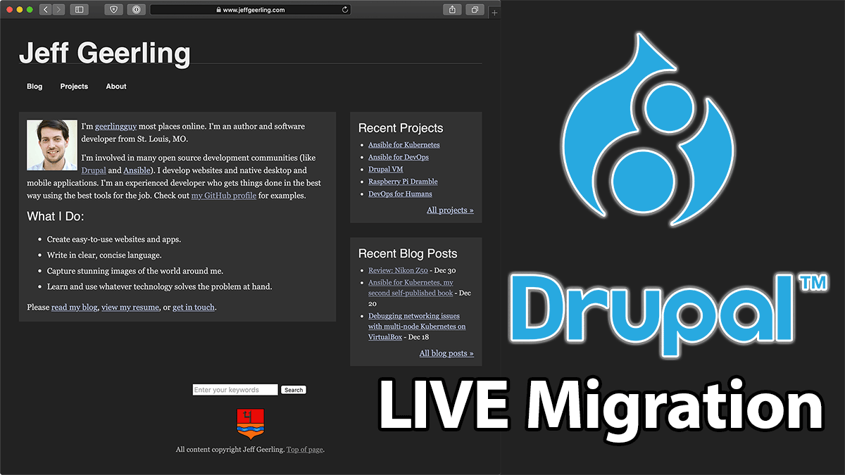 Drupal 8 Live migration YouTube series image for JeffGeerling.com