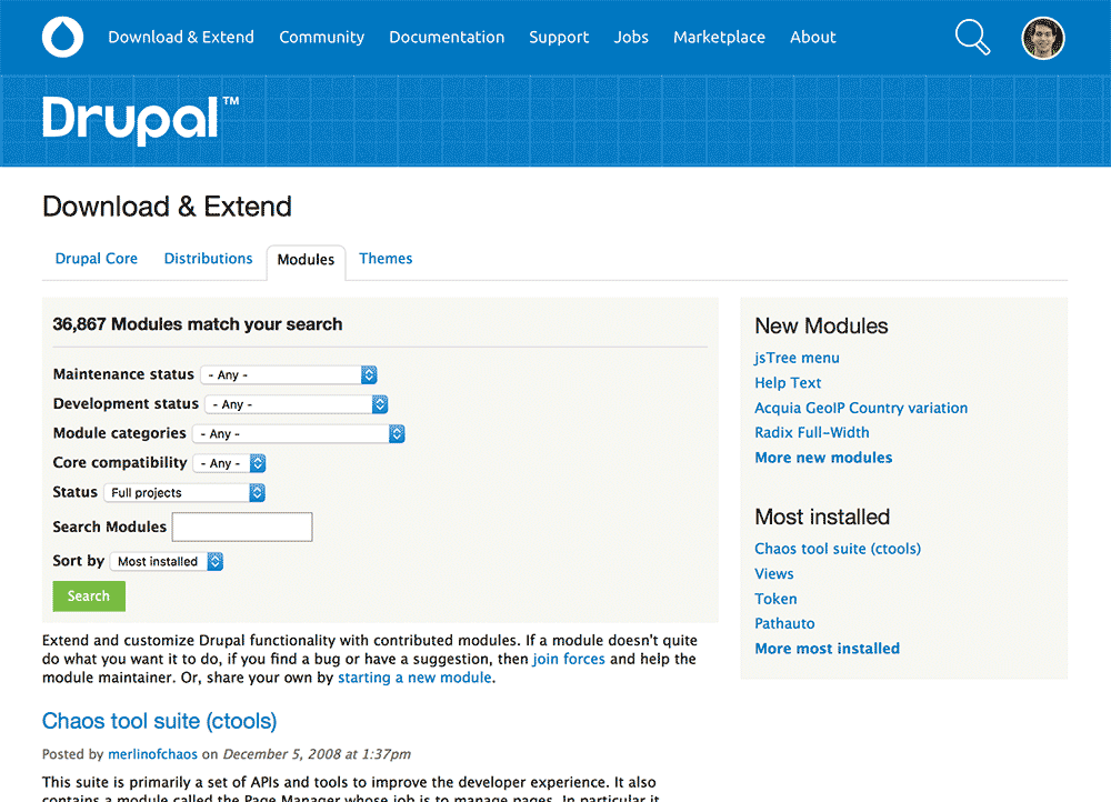 Drupal.org modules page