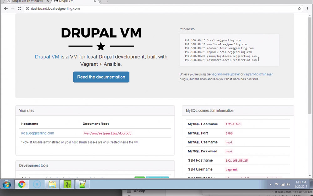 Drupal VM Dashboard page on Windows 7