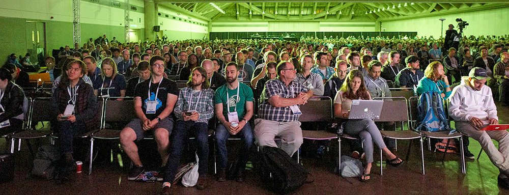 DrupalCon Baltimore 2017 - participants sitting and waiting to see the opening Keynote