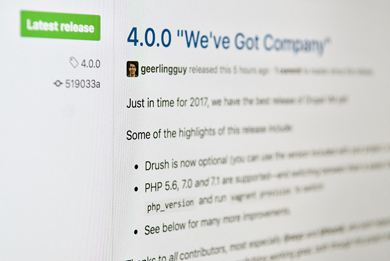Drupal VM 4.0.0 Release Tag - We've Got Company on GitHub