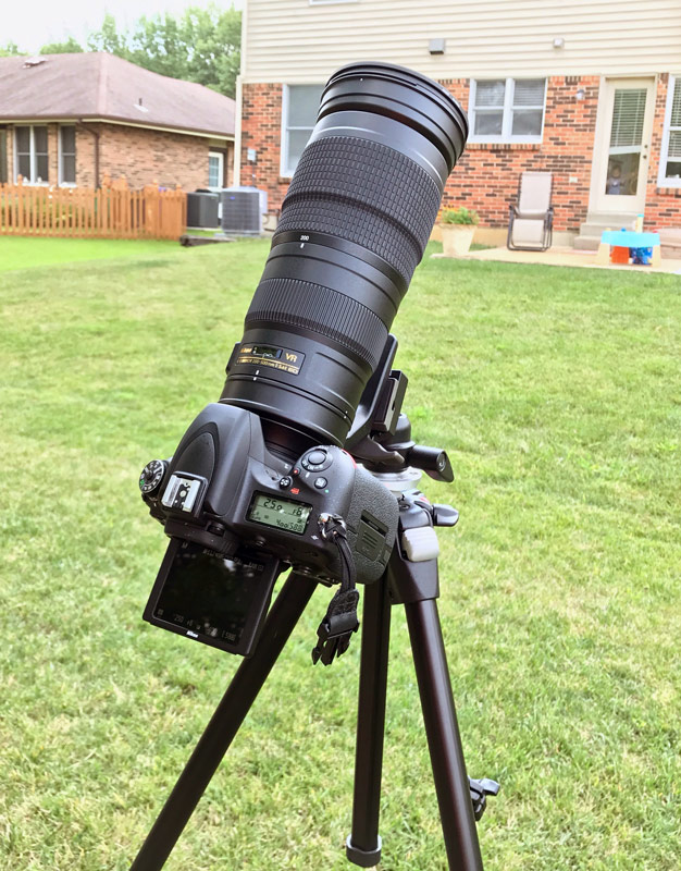 Jeff Geerling's camera setup for the 2017 total solar eclipse - nikon d750 and 200-500mm vr lens