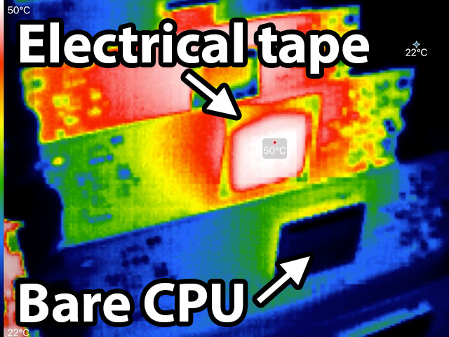 Electrical tape to show CPU surface temperature