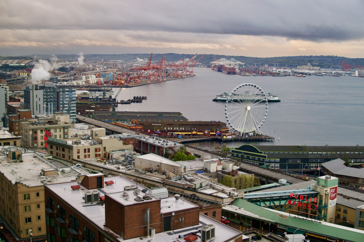 Ferris wheel at Elliot Bay and docks in Seattle WA
