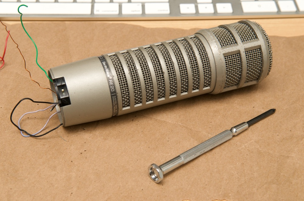 Electro-Voice RE20 body of mic after foam repair