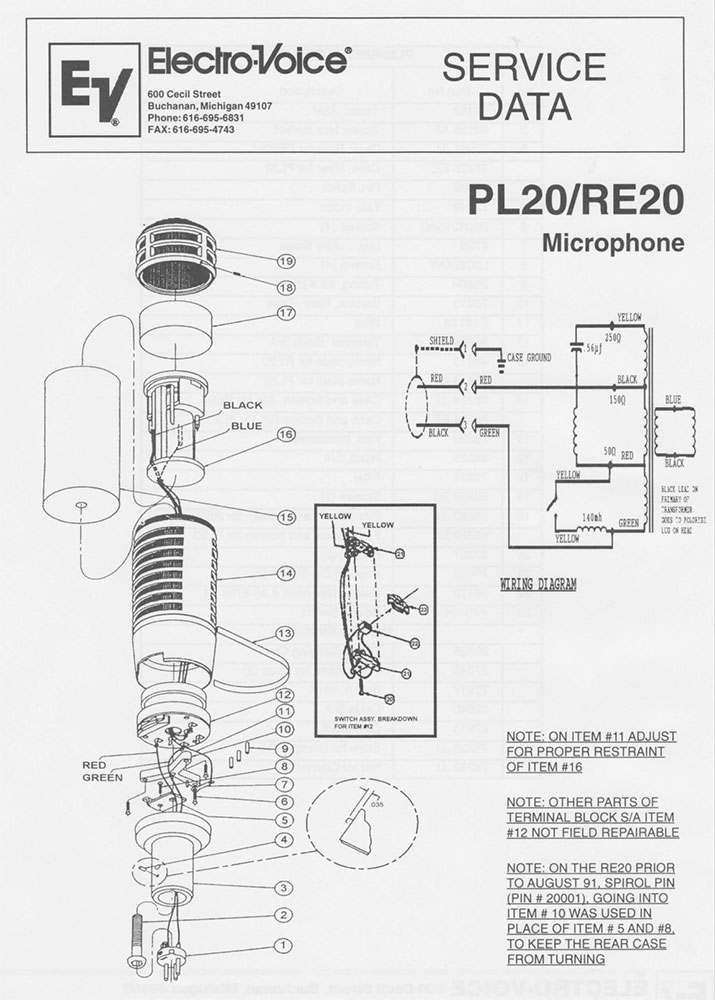 Electro-Voice RE20 Service Manual - Cover