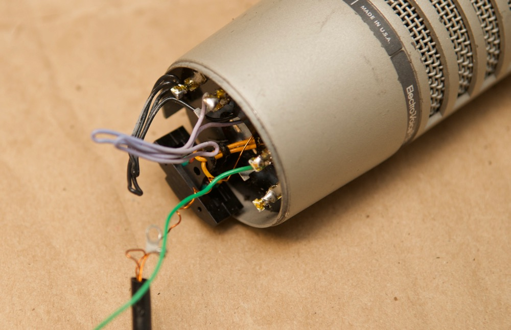 Electro-Voice RE20 wires inside mic housing in base circuit
