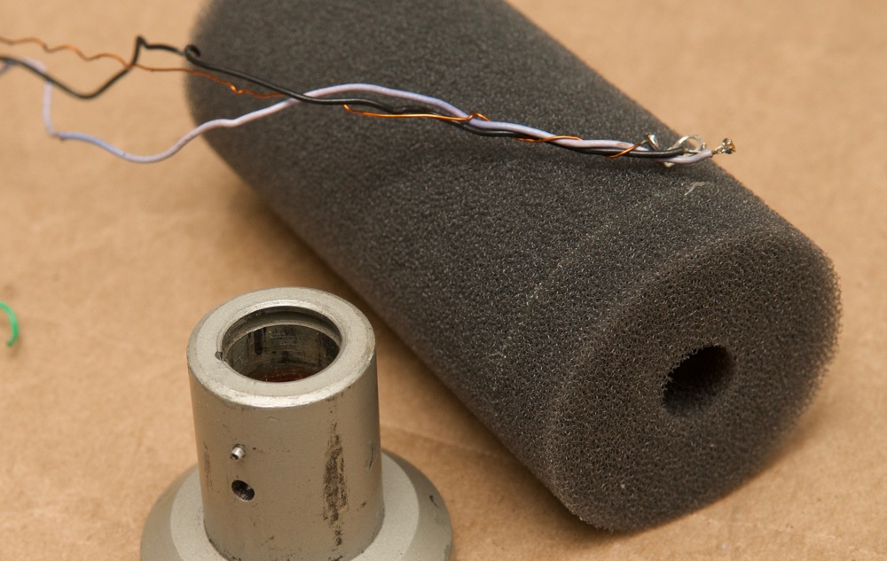Electro-Voice RE20 wires on foam mic capsule sleeve