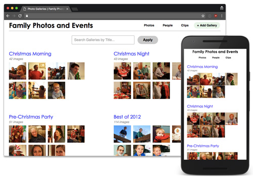 Family Photos and Events website display - desktop and mobile
