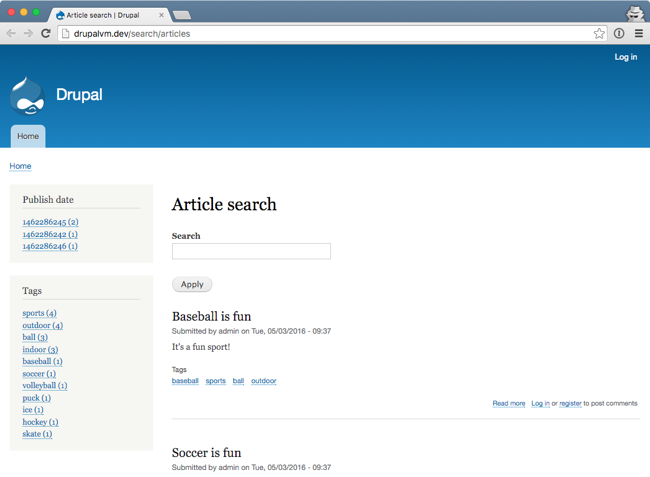 Search API Solr Drupal 8 faceted fulltext Apache Solr search page